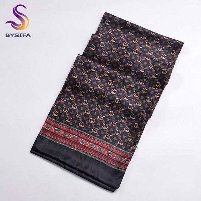 [BYSIFA]  Winter Black Plaid Men Silk Scarf  2016 New Spring Autumn 100% Pure Silk Male Long Scarves Neck Warmer Scarf 160*26cm