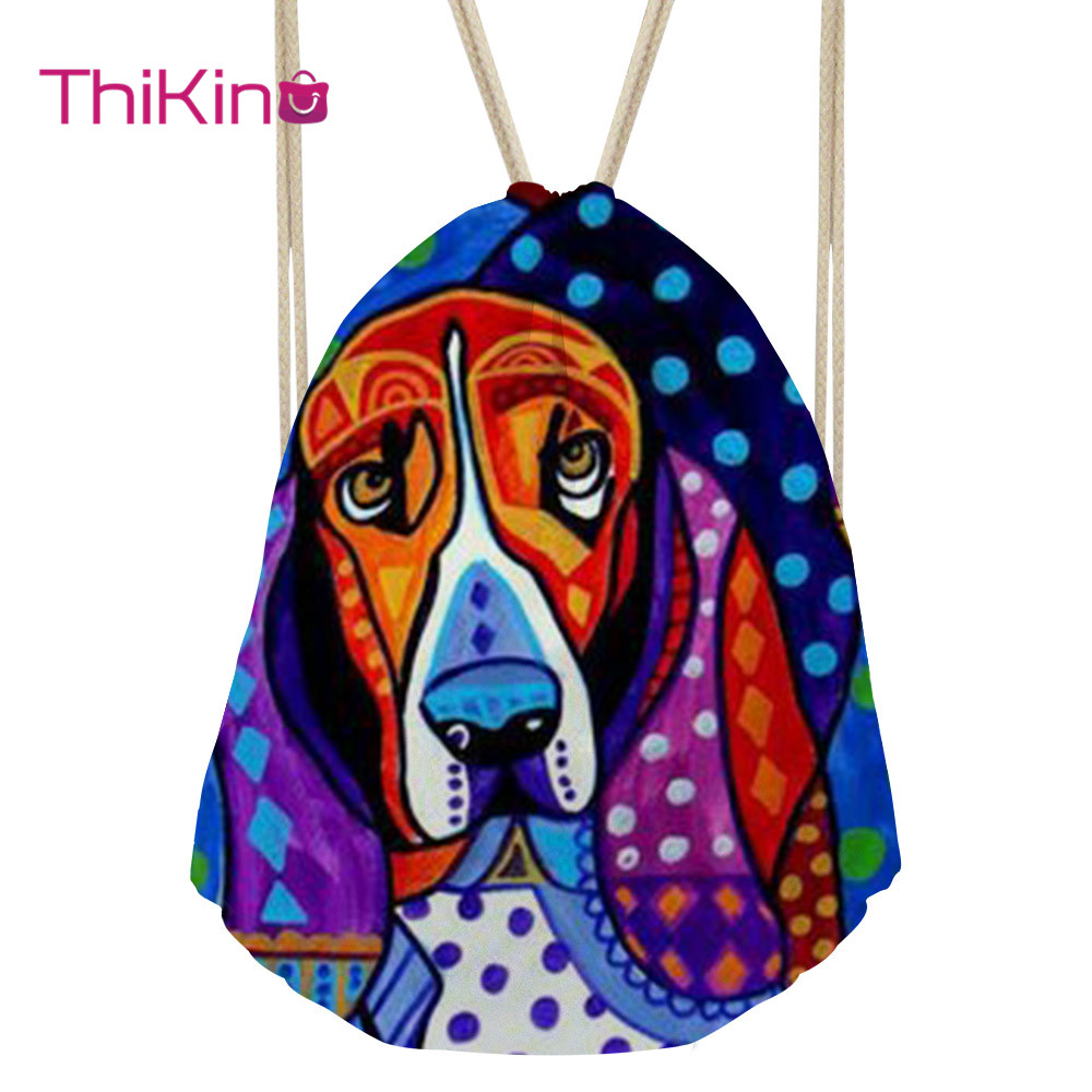 Thikin Exaggerated Painting Casual Sack for Teenager Dog Backpack Toddler Softback Girls Beach Mochila DrawString Bag