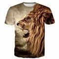 Das Mulheres dos homens de Verão Harajuku Camisetas 3D Animal t camisa Masculina feminino Rugido Do Leão Imprime tshirts Rua Hip Hop Dos Ganhos t-shirt tees