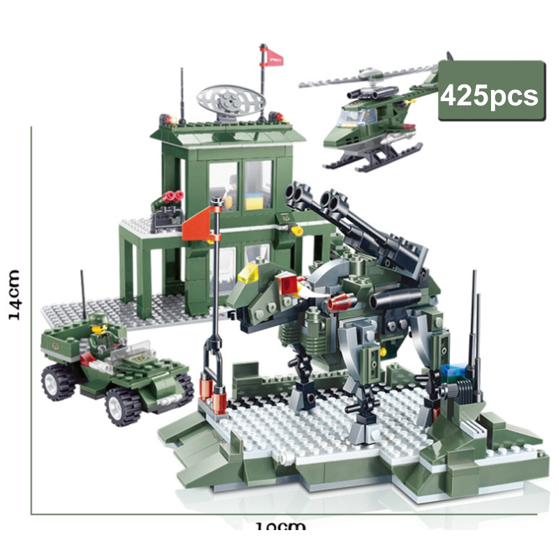 425pcs Enlighten Military Educational Building Blocks Toys For Children Gifts Army Cars Helicopter Weapon Compatible With Lepin enlighten 306 pirate ship scrap dock building blocks model toys compatible with lepin educational gift for children