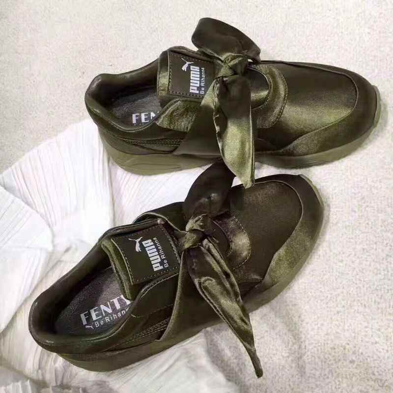 Rihanna X Puma Fenty Women s Bow Trinomic Sneakers shoes bow ties Military  green Badminton Shoes size 35708aa52