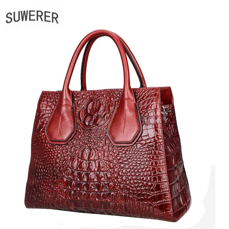 SUWERER New Genuine Leather women bags Crocodile pattern Fashion luxury handbags women bags designer women leather handbags цена 2017