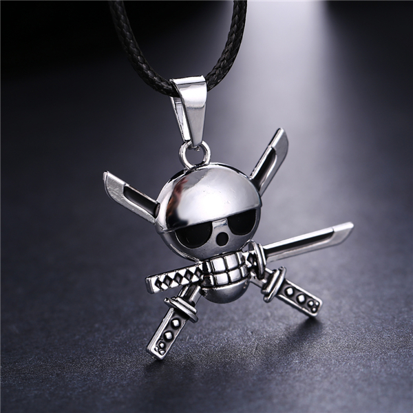 Anime One Piece Zoro Skeleton Necklace Skull Metal Silver Pendant Colar Masculino Kolye Rope Chain For Men Gift Jewelry Collier