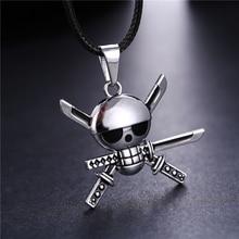 Anime One Piece Zoro Skeleton Necklace Skull Metal Silver Pendants Choker Colar Kolye Male Gift Jewelry Accessories Steampunk