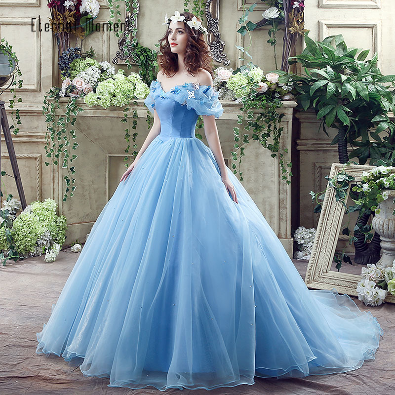 Online Shop In Stock Movie Deluxe Adult Cinderella Wedding Dresses Blue Ball Gown Dress Bridal