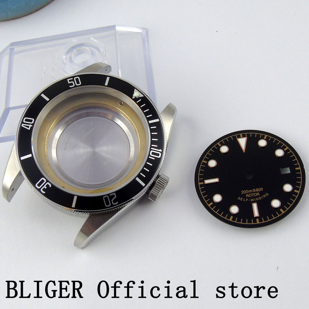 41MM Stainless Steel Sterile Case Black Bezel Sapphire Glass Watch Case+Dial Fit For ETA 2836 MIYOTA 8215 Movement