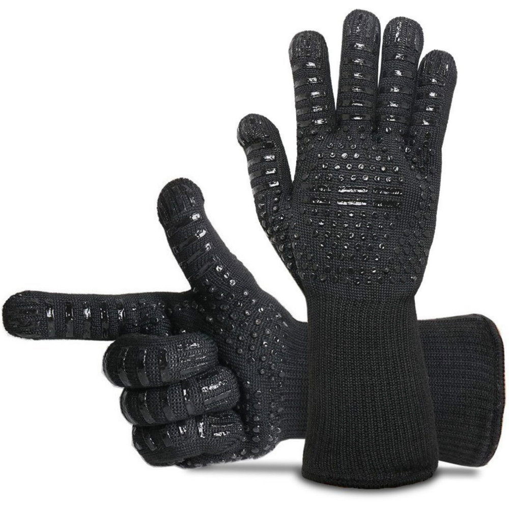 BBQ Grill High Temperature 500 Degree Insulation Green Silicone Gloves Kitchen Oven Microwave Fireproof Anti-scalding high quality anti skid wear resistant cotton gloves 800 degree fire insulation flame retardant glove suit for bbq microwave oven
