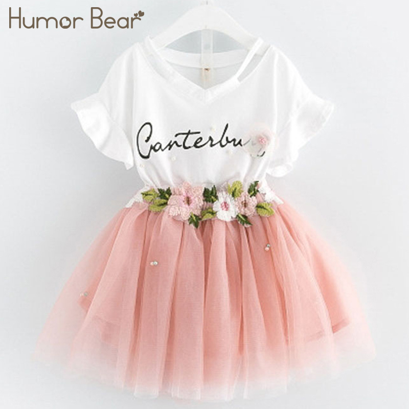 Humor Bear Girls Clothes 2018 Brand Girls Clothing Sets Kids Clothes Handmade Flowers Design Children Clothing Girl Tops+Skirt humor bear baby girl clothes set new sequins letter long sleeve t shirt stars skirt 2pcs girl clothing sets kids clothes