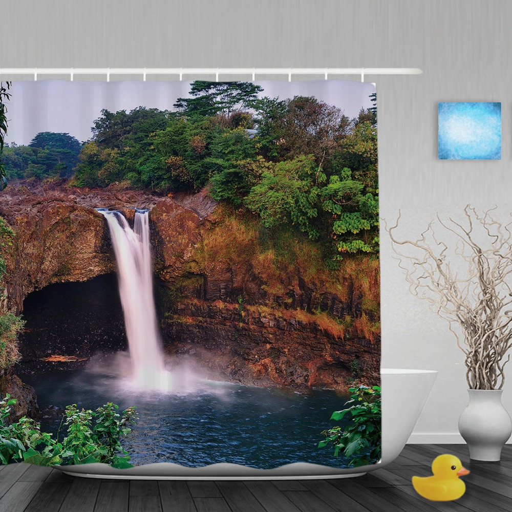 3D Printing Auttum Waterfall Scene Shower Curtain Stone Tree Bathroom Curtain Ployster Waterproof Fabric Bathroom Shower Curtain