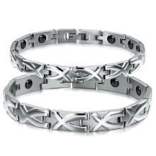 Lovers' X Design Magnetic Bracelets Classical Stainless Steel Women Men Health Care Jewelry Anti-Fatigue GS3244