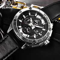 BENYAR Men's Watches 2019 Watch Men Quartz Watches Top Brand Luxury Men's Military Watch Chronograph Leather Band zegarek damski