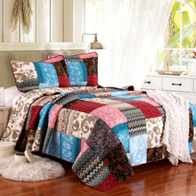 American Patchwork Quilt Set 3PCS bedding Wash cotton Quilts Bed Covers Aircondition Bedspread King Size Coverlet Summer Blanket