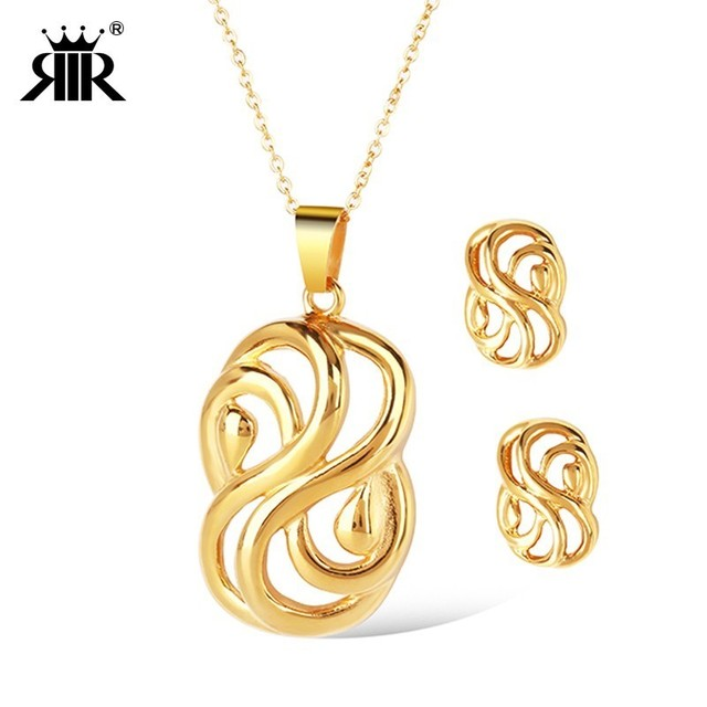 RIR Bowknot Bridal Jewelry Set Stainless Steel Dubai Gold Jewelry Women  Knot Wedding Necklace Link Chain 18 inch Unique Gift Set 573bbb682074