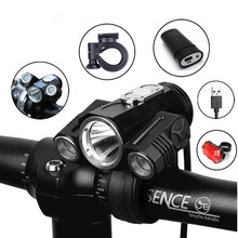 Bicycle Light Adjust Angle Bike LED Front T6 Flashlight USB dual purpose Rechargeable Battery Cycling Lamp Bike Accessories 10000lm 3x xml t6 led 4 2v adjust angle front bicycle light usb bike lamp headlight with battery back tail light set