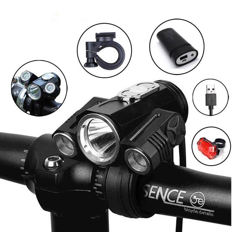 Lumière de bicyclette ajuster l'angle vélo LED avant T6 lampe de poche USB double usage batterie Rechargeable lampe de cyclisme accessoires de vélo