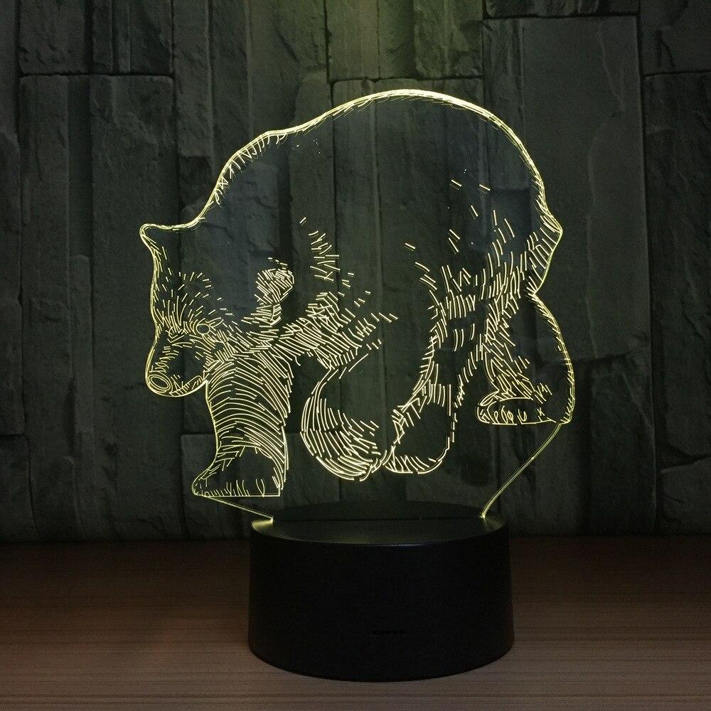 7 цветов Polar Bear животного 3D Светодиодный лампа USB 5 В 3AA Батарея ночник акриловые Панель 3D Иллюзия настольная лампа лава лампа для детей