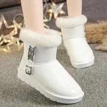 Warm Fur Women Snow Boots Genuine Leather Winter Shoes Fur Ball Mid-Calf Boots Female Fashion Boots Non-Slip Snow Casual Shoe(China)