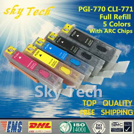 5PK Full ink Refillable Cartridges suit for PGI770 CLI771, Suit for canon PIXMA MG5770 MG6870 MG7770  ,with ARC chips pgi 425 cli 425 refillable ink cartridges for canon pgi425 pixma ip4840 mg5140 ip4940 ix6540 mg5240 mg5340 mx714 mx884 mx894