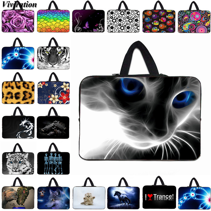Fashion Casual Blue-eyed Cat Print Women Girls Carry Notebook Cover Case 10 7 8 12 13 14 15 17 Viviration Sleeve 17.3 Laptop Bag