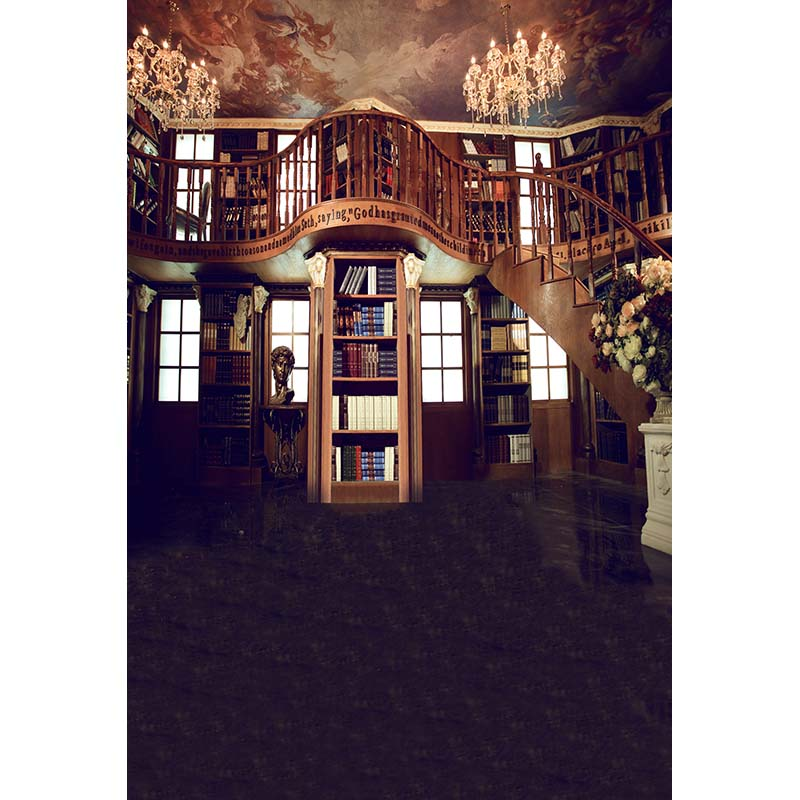 Villa inside photo background stairs and book shelf photography backdrops for photo studio props backgrounds fotografia CM-5391 300 600cm 10ft 20ft spring background photo studio villa natural photography backdrops
