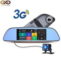 Darmowe 32 GB karty + 3G Samochód DVR + Android 5.0 GPS Bluetooth FM nadajnik z dwoma obiektywami lusterko wsteczne kamera + FHD1080P automovil camara