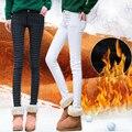 2016 Inverno As Mulheres De Cintura Alta Lápis Calças de Lã Calças Quentes feminino Preto Azul Vermelho Femme Veludo Calças Quentes Plus Size Pantalon