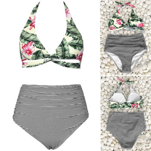 Newly Women Floral Bikini Sets Push-Up Padded Bra Swimwear Beachwear Swimsuit