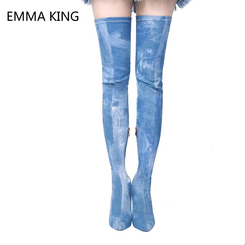 Blue Demin Stretch Cowboy Long Boots Pointed Toe High Heels Sexy Thin Heels Over Knee Womens Slim Thigh High Ladies BootsBlue Demin Stretch Cowboy Long Boots Pointed Toe High Heels Sexy Thin Heels Over Knee Womens Slim Thigh High Ladies Boots