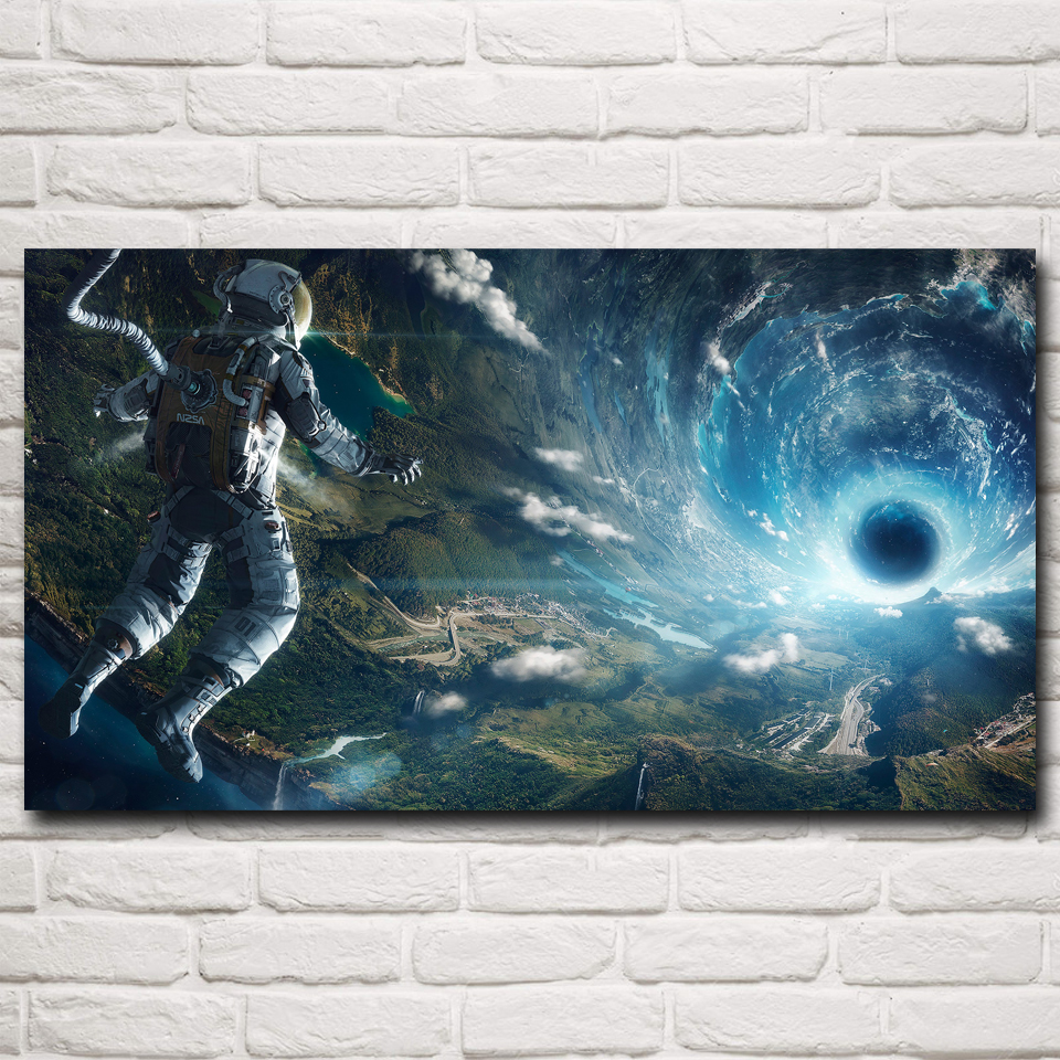 Astronaut Stars Futuristic Tunnel Wormholes Art Silk Poster Prints Home Wall Decor Pictures 11x20 16x29 20x36 Inch Free Shipping