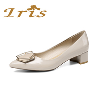 IRIS 2017 New Three Colors Patent Suede Leather Classic Woman Shoes Medium Comfortable Chunky Heel Pumps