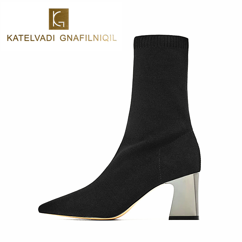 Moda feminina botas de salto alto preto botas de neve saltos quadrados sapatos de inverno feminino apontou toe senhoras meias botas mais tamanho K-173