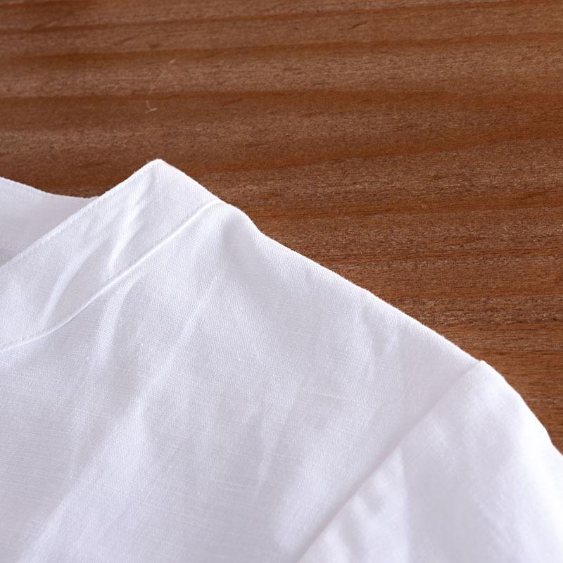 Chiński styl Koszula lniana Plus rozmiar 4XL/5XL mężczyźni na co dzień oddychające białe miękkie trzy czwarte koszula Camisa masculina TX55