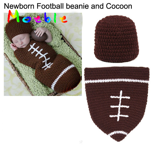 Baby Boys Crochet Football Beanie and Cocoon Set Knitted Newborn Baby Photography Props Baby Coming Home Outfit MZS-14095