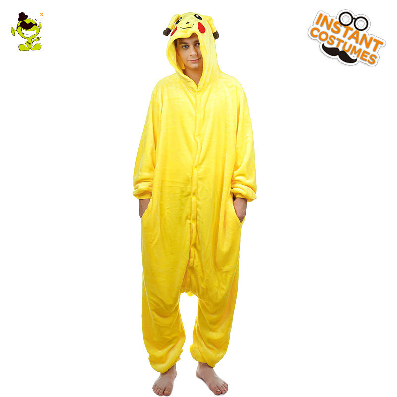 Adult man Pikachu Pajamas Costume Cosplay Cartoon One Size Yellow Silk Pajamas Cosplay With Hood Pikachu Pajamas