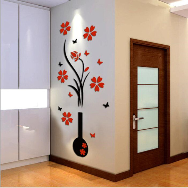 New vase 3d acrylic crystal three dimensional wall - Reloj decorativo de pared ...