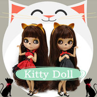 factory blyth doll brown hair with bangs tan skin joint body kitty headband red dress cat shoes combination 1/6 30cm