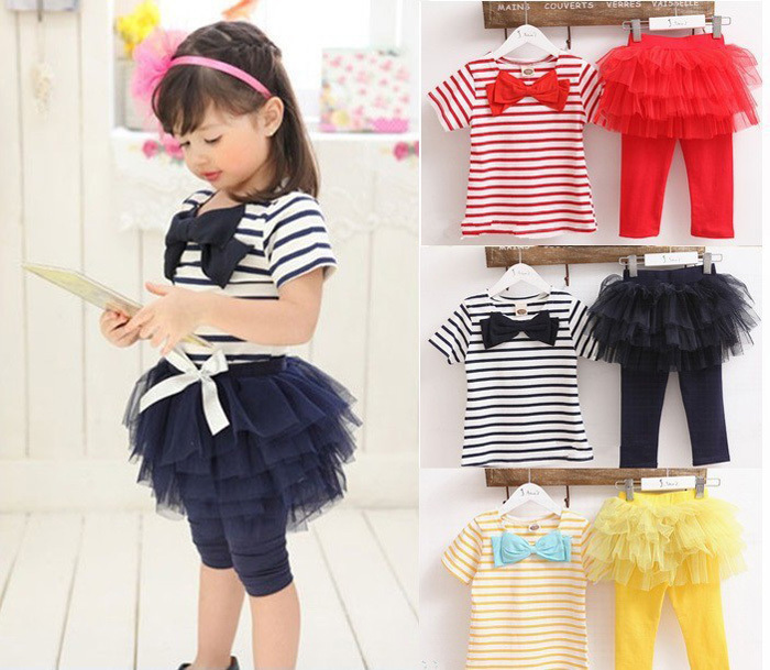 6de1919e32c16 baby girl clothes Set Two Pieces Stripes Bow T-shirt + Tutu Skirt Leggings  Lovely Baby Kids Clothing