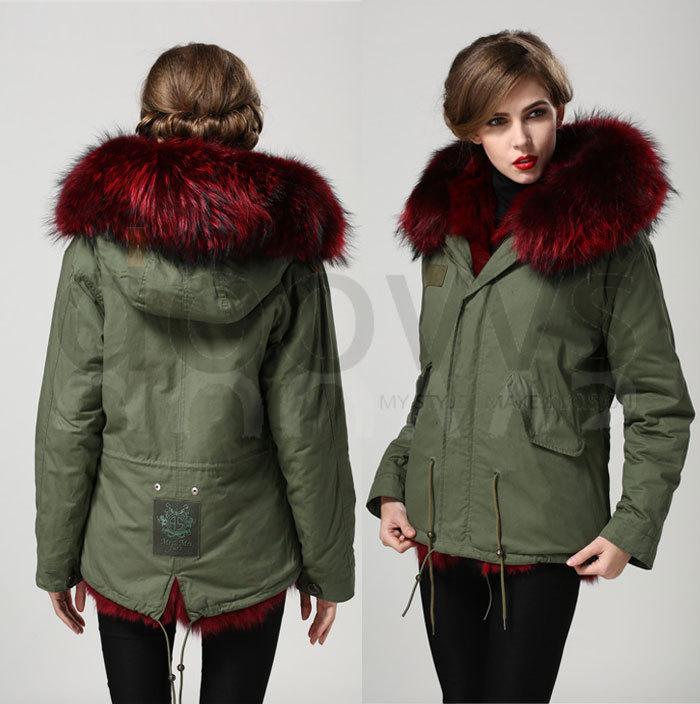 Anggur merah nyata bulu rubah kerah mantel bulu rubah nyata jaket - Pakaian Wanita - Foto 5