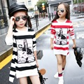 2017 Spring Autumn Girls Children's Stripe Printed Asymmetrcal Clothes Infant Kids Costume Princess Baby Next Party T-shirt