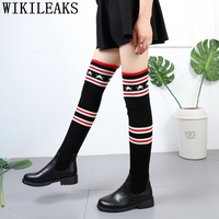 knitting sock boots women shoes black ladies shoes woman winter thigh high boots luxury shoes women designers Striped long boots