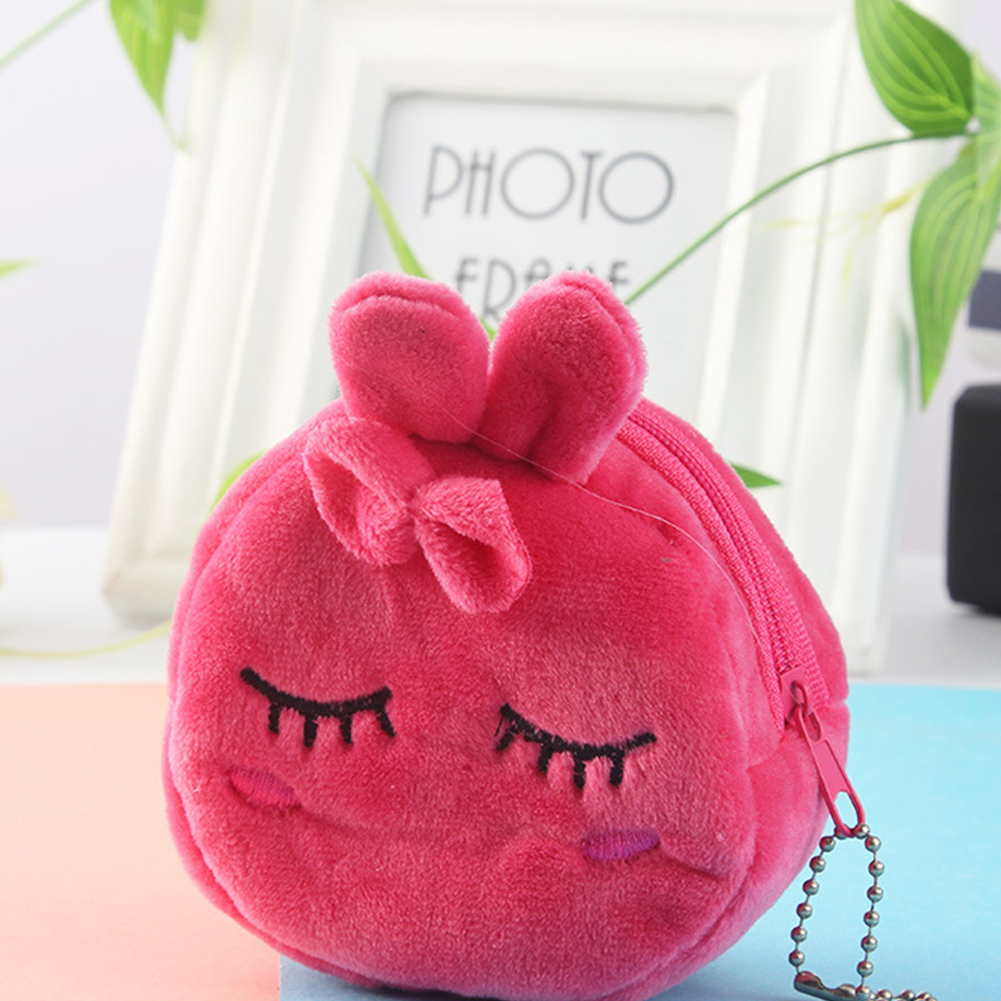 Mini Cute Key Money Bag Portable Gift Stereo Plush Cartoon Coin Purse Zipper Soft Large Capacity Girls(China)