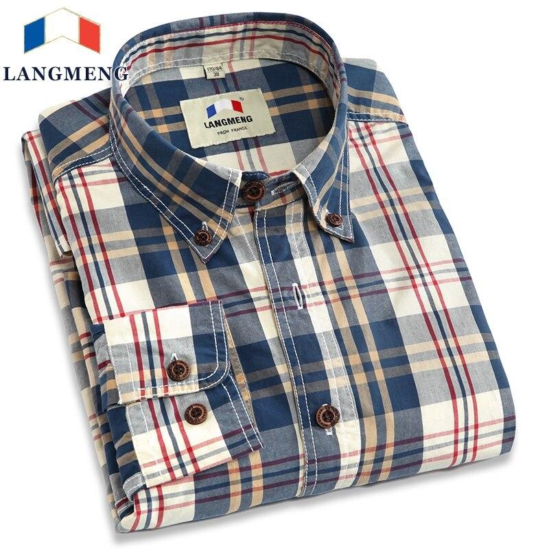 Langmeng 2017 Nuevo otoño primavera mens casual camisas de manga larga 100% algodón vestido camisa hombres estilo retro camiseta masculina