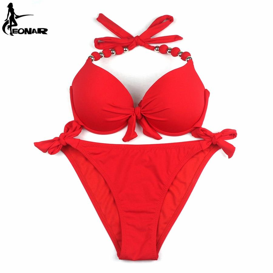 EONAR Bikinis Women 2018 Print Floral Swimsuits Brazilian Push Up Halter Bikini Set Bathing Suits Plus Size Swimwear Female XXL 4