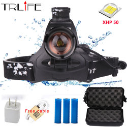 40 W Chip XHP50 LED faro 40000Lum Led faros delanteros Zoom cabeza de la lámpara linterna para acampar por 3*18650