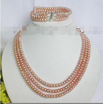 Gratuite>> nouvelle chaude 3row rose perles collier bracelet ensemble