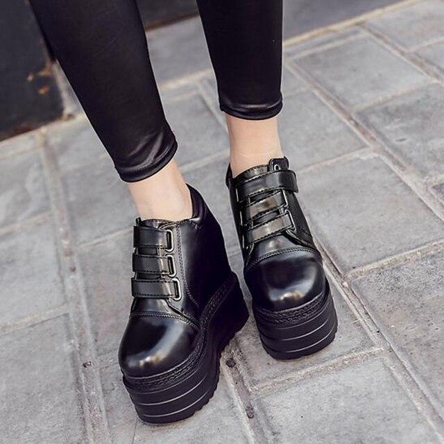 Клин каблуки дамы туфли на платформе женщина весна осень панк обувь коренастый высокие каблуки клин обувь лодыжки сапоги для женщин насосы X363