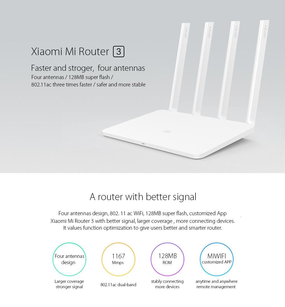 original xiaomi mi router 3 Dual band 4 antenna 5GHz 1167Mbps WiFi 802.11ac b g n APP Control 1
