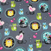 140cm Width Gray Background Colorful Circle Cats Cotton Fabric For Baby Boy Clothes Bedding Set Sewing