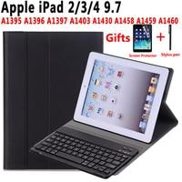 Keyboard Case For Apple iPad 2 3 4 iPad2 iPad 3 iPad 4 9.7 A1395 A1396 A1403 A1416 A1430 A1458 A1460 Keyboard Cover +Film +Pen