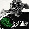 Mulheres homens folha de cânhamo luz fluorescente luminosa hip hop chapéus gorras ny bonés de beisebol casquette superman assustador olho snapback chapéu